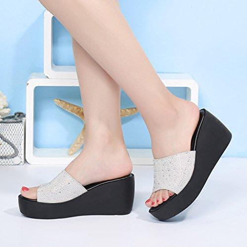 con tacco cm pantofole sandali alto indossare 7 La signora con 40 Bianca con tacco estate a fondo Color pendenza alto spessa strass suola Bianca pantofole con 5 Size 8tBEBw