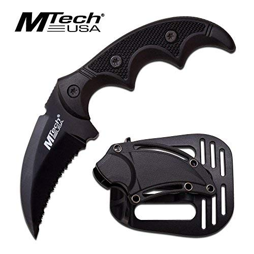 MTech USA Fixed Blade Tactical Knife G10 Texture Handle with Holster 2 Inch Blade (BLACK) ()