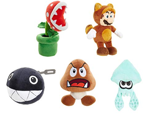 U.C.C. Distributing World of Nintendo Super Mario Plush Set of 5 Includes: Tanooki Mario , Splatoon Squid , Goomba , Piranha Plant & Chain Chomp ()
