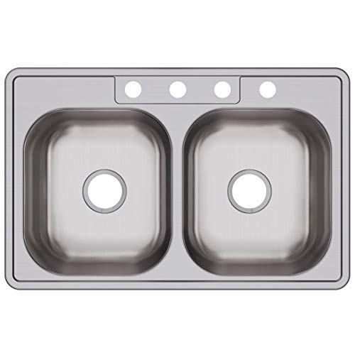 - Elkay DSE233214 Dayton Equal Double Bowl Drop-in Stainless Steel Sink