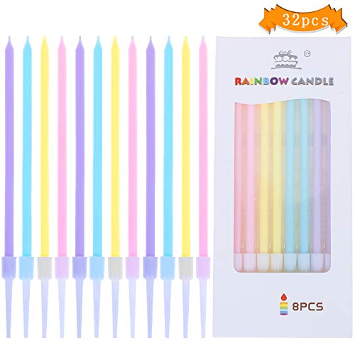 LOCOLO 32 Counts Metallic Birthday Cake Candles in Holders Long Thin Candles for Birthday Wedding Party Cake Decorations