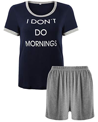 Check Pj Set (KENANCY Womens Shorts Pajama Set Cute Short Sleeve Sleepwear Nightwear Pj Sets Blue)