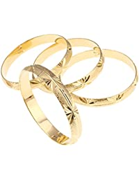 4pcs Dubai Gold Bangle Bracelet 18k Gold Plated Women Decoration Party Bangle African Ethiopian Jewelry