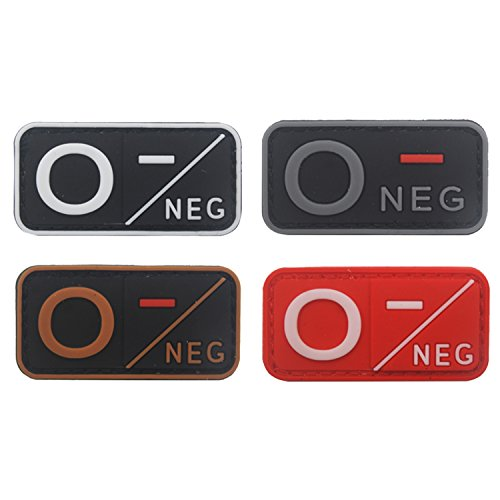 Blood Type Patch Kit O Neg, Tactical Type O Negative 3D PVC Rubber Fastener Patches, 1.97 X 0.98 Inch Sized, Bundle 4 Pieces
