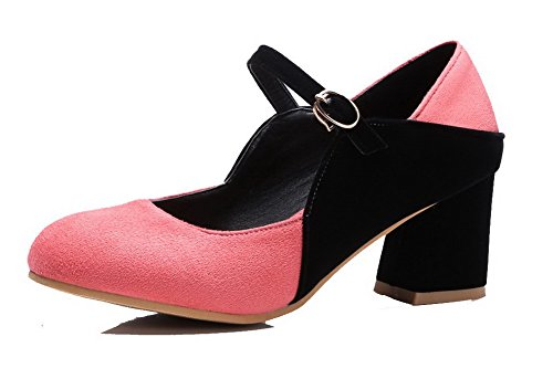 Watermelonred Color Pumps 35 Assorted Kitten Heels Frosted Shoes Odomolor Buckle Women's RxPCwzWcqa
