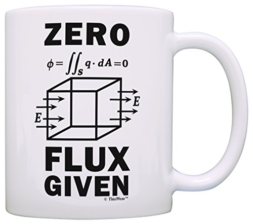 Science Nerd Gifts for Adults Zero Flux Given Gauss Law Physics Science Teacher Gifts Funny Science Gift Electrostatics Gift Coffee Mug Tea Cup White -