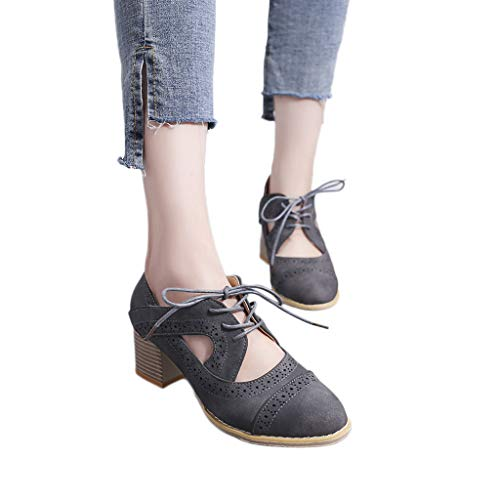 Black Sandals Studio Heels Womens (Women Single Shoes, NEARTIME Fashion Suqare Heels Lace-Up Short Boot Solid Color Lace-Up Casual Hollow Leather Sandals)