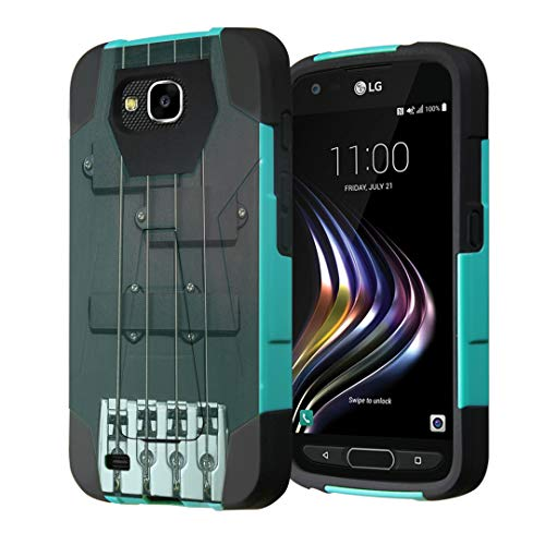 Capsule Case Compatible with LG X Venture, LG X Calibur, LG LV9 [T-Style Kickstand Dual Layer Shockproof Combat Case Mint Black] for LG - (Black Guitar) -