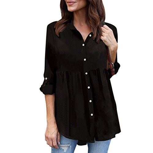 FEITONG Womens Plus Size Solid Long Sleeve Casual Chiffon Blouse Ladies OL Work Top T Shirt Tops, S-5XL