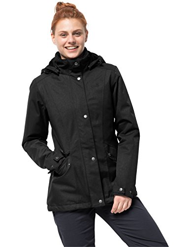Jack Wolfskin Park Avenue Jacket Women's Waterproof Insulated Rain Jacket 100% PFC Free, Black, Small - Park Avenue Coat