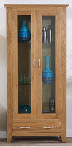 Camberley Oak Glass Display Cabinet includes Three Glass shelves ...