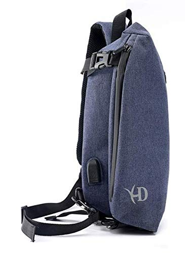 320757caf36a Mangi Mangi Sling Backpack with USB Charging Port Waterproof for Men Bike  Hiking Small (Blue