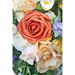 Ling's moment Artificial Flowers Dusty Cedar Roses 25pcs Real Looking Fake Roses w/Stem for DIY Wedding Bouquets Centerpieces Arrangements Party Baby Shower Home Decorations 4
