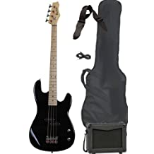 Davison Guitars BASS235 BK PKG Full Size Electric Bass Guitar Starter Beginner Pack with Amp Case Strap Package, Black