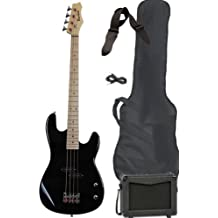 Full Size Electric Bass Guitar Starter Beginner Pack with Amp Case Strap Black Package