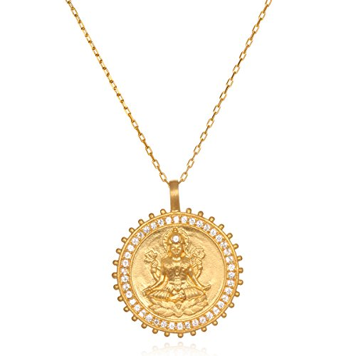 - Satya Jewelry White Topaz Gold Lakshmi Pendant Necklace 30-Inch, One Size
