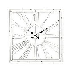 Lone Elm Studios 94377 Antique White Metal Wall Clock Christmas, 24InL x 2.4InW x 31.9InH