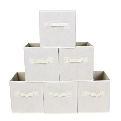 - SONGMICS Storage Bins Cubes Baskets Containers with Dual Non-woven Handles for Home Closet Bedroom Drawers Organizers, Flodable, Beige, Set of 6 UROB26M