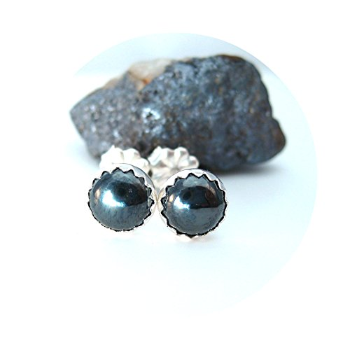 6mm Round Hematite Stud Earrings