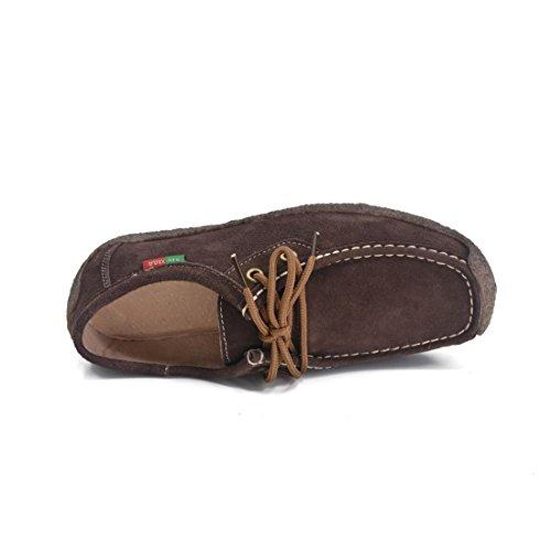 Scarpe Donna Oxford Scarpe Oxford Con Lacci Stringate Scarpe Casual Sneaker In Pelle Scamosciata Scamosciate Marrone