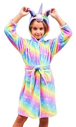 Soft Unicorn Hooded Bathrobe Sleepwear - Unicorn Gifts for Girls (6-7 Years, Bright Rainbow)