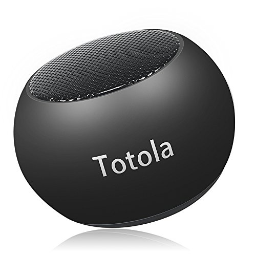 Totola Mini Bluetooth Speaker with Big Sound,Portable Metal Wireless Speaker with Built-in Mic,Pairable Speaker,Handfree Calling Function for iPhone 8,ipad,Smart Mobile Phone (Black)