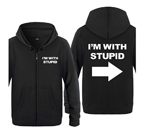 Stupid Tops Coat I'm Cardigan Full Fashion Simple Letters Zip with Mens 1 aicessess w1x4qFF
