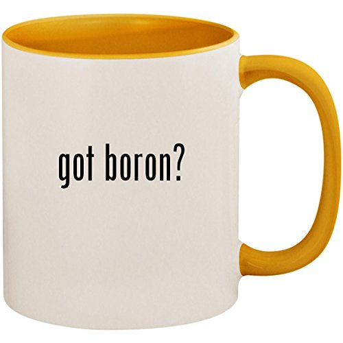 got boron? - 11oz Ceramic Colored Inside and Handle Coffee Mug Cup, Golden Yellow
