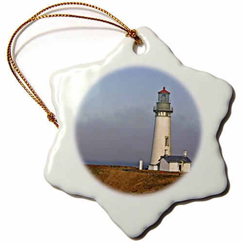 (3dRose Danita Delimont - Lighthouses - Yaquina Head Lighthouse at Newport Oregon - US38 MGI0121 - Mark Gibson - 3 inch Snowflake Porcelain Ornament)
