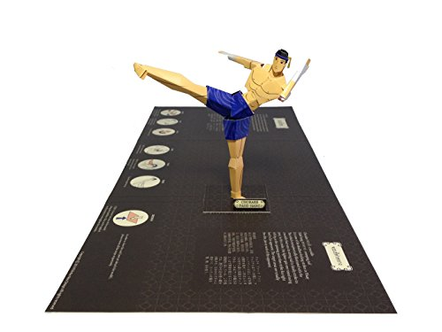 World's first 3D Thai Boxing (Muaythai) Pop-Up Card Hand-made Model for Greeting and Collection (Chorake Fahd Hang - Blue - Kick Strike)