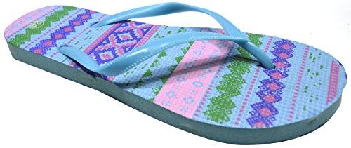 OCTAVE® Ladies Summer Beach Wear Flip Flops Collection Various Styles & Colours Aztec Design - Light Blue z1DHRWQ