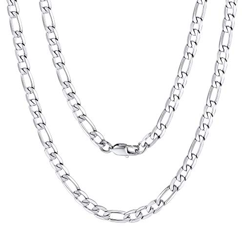 6mm Wide 22 Inches Figaro Chain 3:1 NK Chain Men Stainless Steel Necklace ()