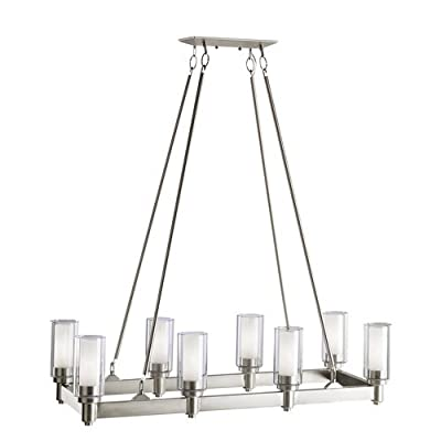 Kichler Lighting Circolo 8-Light Linear Island Light with Clear Glass Cylinders