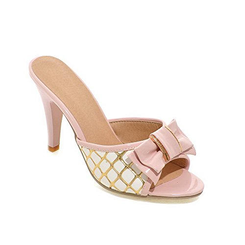 High WeenFashion Pink Assorted Toe PU on Sandals Heels Color Women's Pull Heeled Open wq4w8S