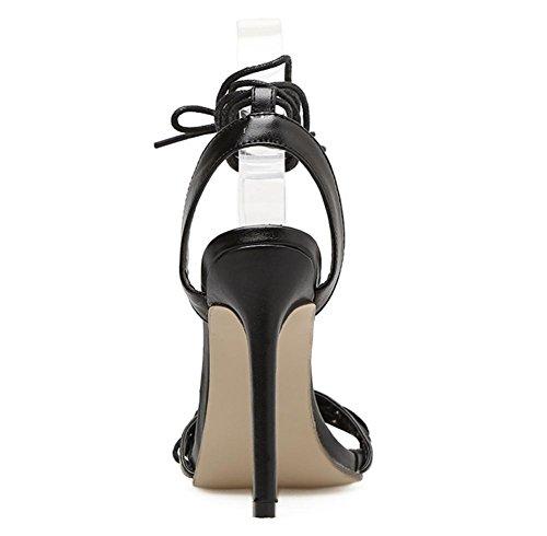BLACK Sandalias Zapatos Alto Tobillo Correas Vestir Trabajo Tacón Club Fiesta Grueso Negro nocturno Cruzar Mujer ZIqnSd6wI