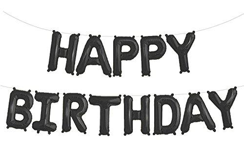 Fecedy Black Hanging Happy Birthday Balloons Aluminum Foil letters Black Foil Balloon