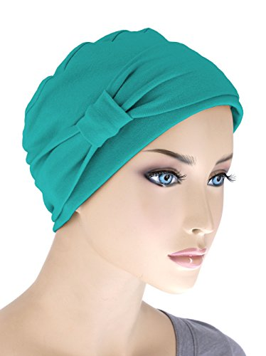 Comfort Cotton Sleep Cap & Headband Chemo Hat Beanie Turban for Cancer Turquoise Green