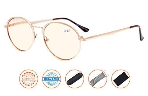 UV Protection,Anti Blue Rays,Reduce Eyestrain,Round Computer Reading Glasses(Gold,Amber Tinted Lenses) - Tinted Lenses Glasses With Prescription