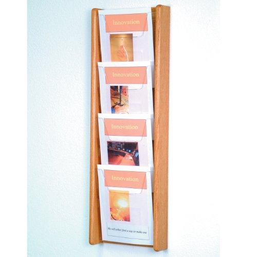 - DMD Magazine Rack, Literature Wall Display, 4 Pocket Solid Oak and Acrylic, Light Oak Wood Finish