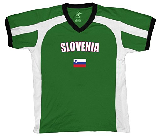 fan products of Slovenia Country Flag Men's Soccer Style Sport T-Shirt, Amdesco, Kelly/White/Black XL