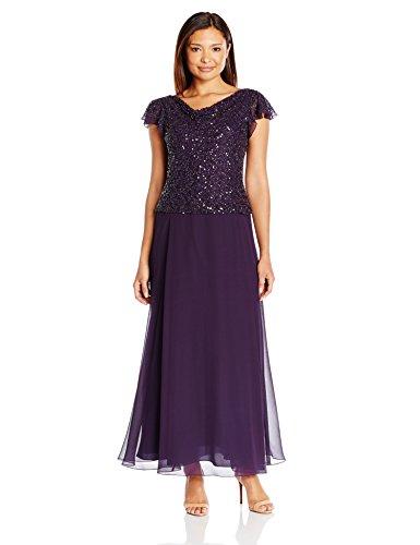 - J Kara Women's Petite Long Beaded Cowl Neck Flutter Sleeve Gown Dress, Plum/Shaded, 16P
