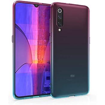 kwmobile Case for Xiaomi Mi 9 - Clear TPU Soft Phone Cover - Bicolor Design, Dark Pink/Blue/Transparent