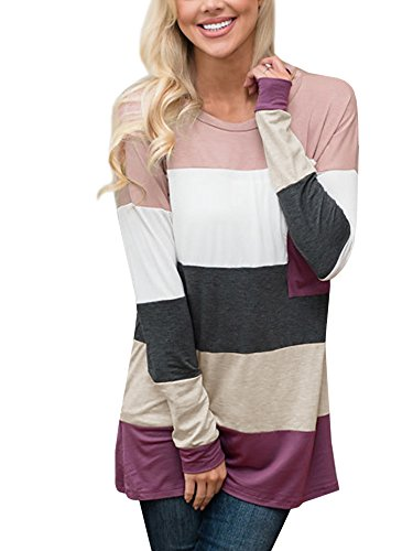 Uncinba Women's Casual Striped Long Sleeve Blouses and Tops Color Block Tunic Crewneck Tee Pocket - How Is Usps Shipping Priority Long
