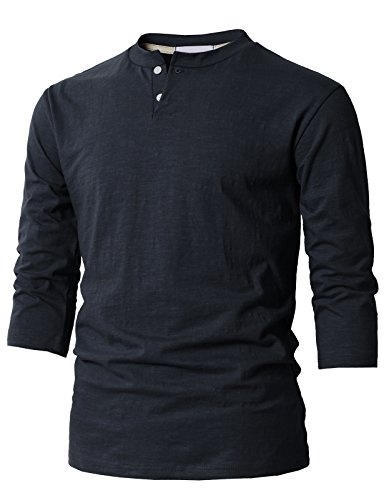 H2H Mens Hipster Hip Hop 3/4 Sleeve Crew Neck Tee Shirt with Button Placket Navy US 2XL/Asia 3XL (KMTTS0548)