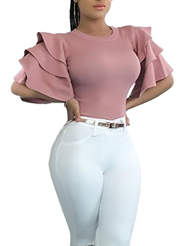 VintageRose Womens Round Neck Ruffle Sleeve Blouse Tops X-Large Pink (Top Ruffle Shirt Blouse)