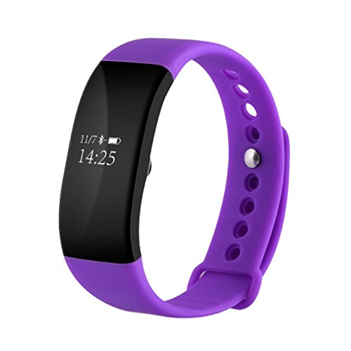 Lywey Smart Watch Phone Call Message Bluetooth Pedometer Sedentary Remind Sleep Monitor OLED Heart Rate Tracker Blood Pressur For Android Samsung S7/S8/S9 Plus For iPhone 6 6S 7 8 Plus X (Purple) Silent Light Phone Ring Sensor