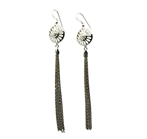 Sterling Silver Puffed Domed Round Circle Starburst Tassel Earrings