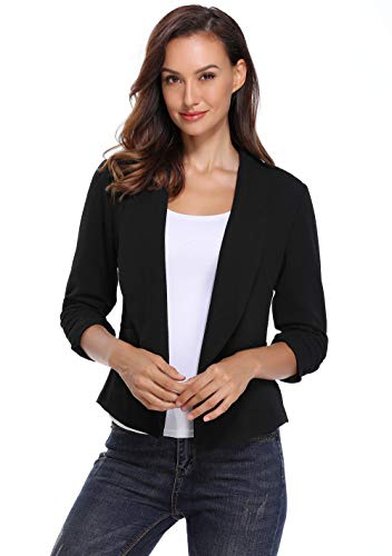 (Anienaya Women's Blazer Fully Lined 3/4 Sleeve Open Front Work Office Casual Cardigan with 2 Patch Pockets)