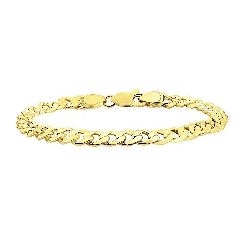 - Verona Jewelers Sterling Silver 14K Gold Plated Italian Curb Cuban Link Chain Bracelet for Men 7.5MM - 925 Sterling Silver Bracelet for Men, Silver Cuban Link Chain (8, 8MM)