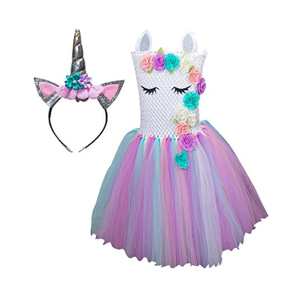 Unicorn Costume for Girls Dress Up Clothes for Little Girls Rainbow Unicorn Tutu with Headband Birthday Gift 3